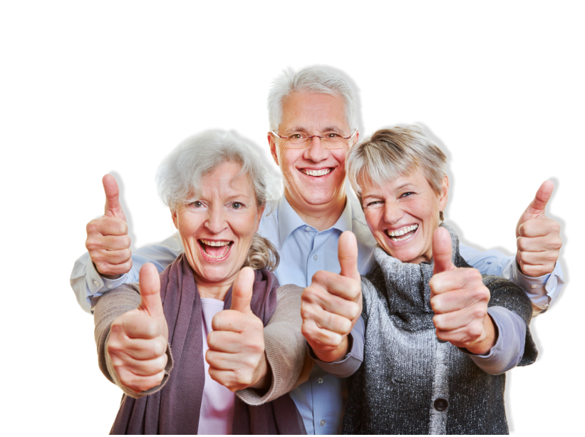 three elderly showing their thumbs up